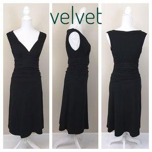 Velvet ANTHRO Pleated Surplice Poplin Dress